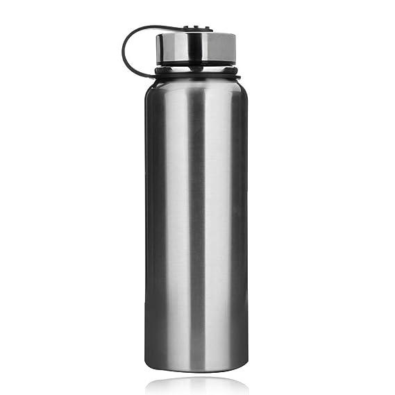 Botella de agua de acero inoxidable de 1,5 l tama/ño 0.6L m/últiples especificaciones gimnasio color negro botella de agua para correr ciclismo botella de agua deportiva sin fugas