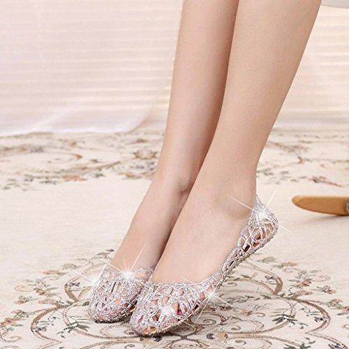 Digood Pétillante Sandales Pour Les Femmes, Les Dames Adolescentes Talon Bas Élastique Sandale Été Chaussures Décontractées Argent