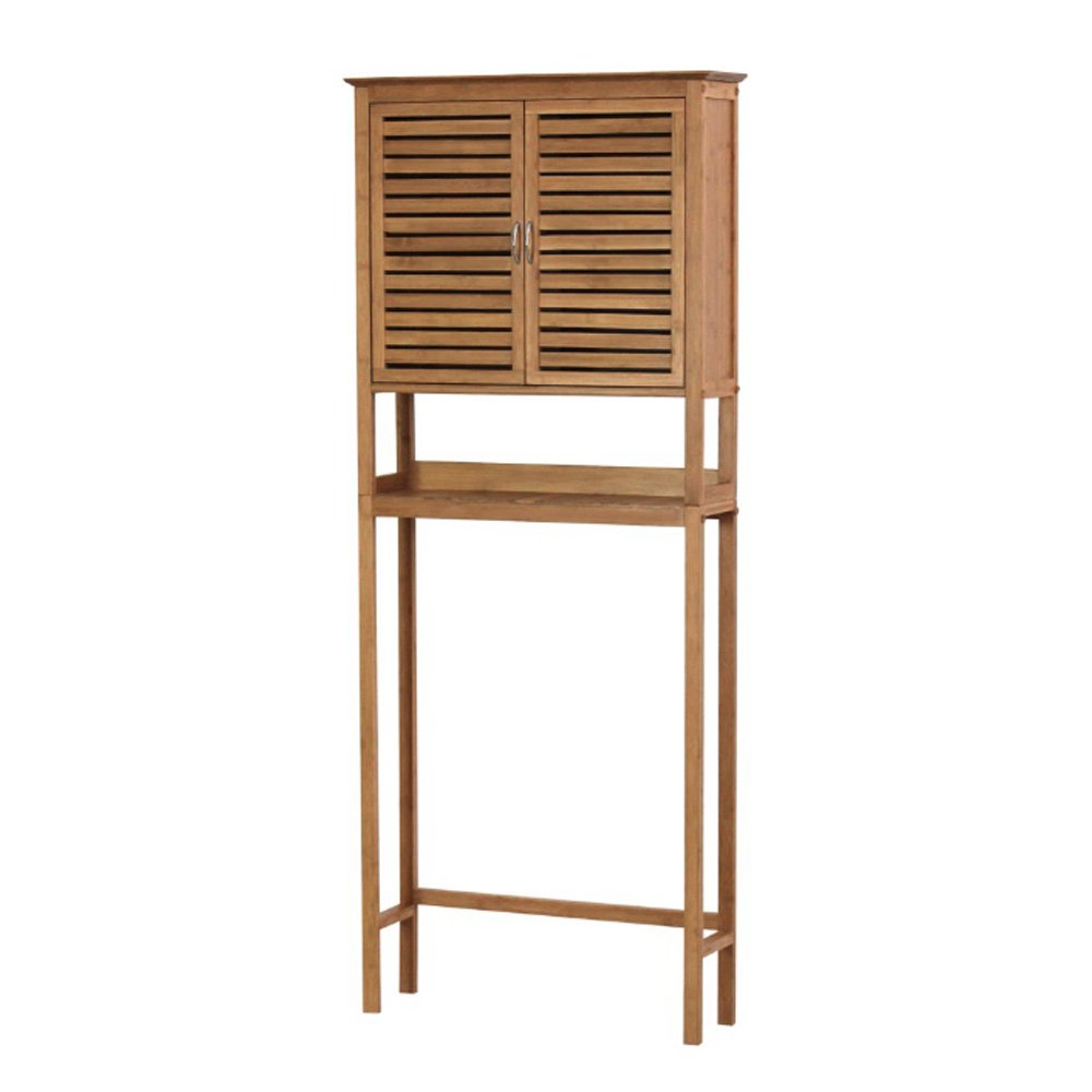 DOVA Bamboo Bathroom Cabinet Over Toilet Shelf Organizer Spacesaver Rack Space Saver Natural Finish Bundle w/ [TM] Furniture Straps