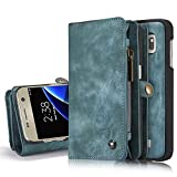 Galaxy S7 Detachable Wallet Case XRPow 2In1 Multi-Functional Removable Magnetic Back Cover 11 Card Slots & 3 Cash Pocket Premium Folio Zipper Wallet Case for Samsung Galaxy S7 BLUE