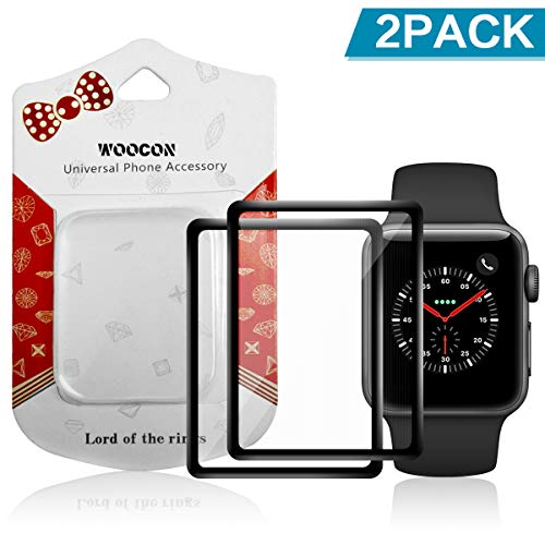 Woocon Tempered Glass Compatible with Apple Watch Series 4, Full Coverage 3D Anti-Scratch 9H Hardness Tempered Glass Film,Anti-Fingerprint Protective Film Cover for Apple Watch Series4 44mm(2Pack)