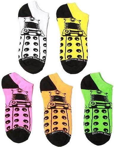 e7f000dda93c Amazon.com  Doctor Who Dalek Women s Low Cut Socks Neon 5-pack
