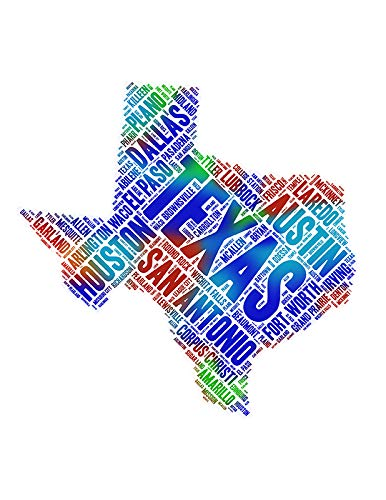 Texas State Map Word Art, Colorful TX USA Cities Wall Decor Print 8.5 x 11