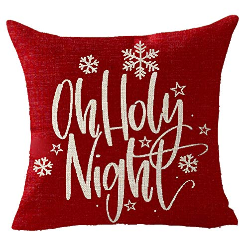 t Red Christmas Tree Snowflakes Throw Pillow Cover Cushion Case Cotton Linen Material Decorative 18x18 inches ()