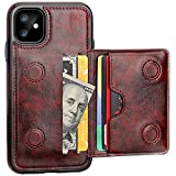 iPhone 11 Wallet Case Credit Card Holder, KIHUWEY Premium Leather Kickstand Durable Shockproof Protective Cover iPhone 11 6.1 Inch(Brown)