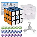 Coogam Gan 356 Air Speed Cube 3x3 Black Gans 356 Air Puzzle Cube with New Blue Cores (Master Version)