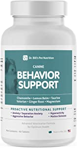 Dr. Bill's Canine Behavior Support Pet Supplement - Calming Supplement for Dogs, with Chamomile, Lemon Balm, Valerian Root, L-Theanine, Taurine, Ginger Root, and Magnesium