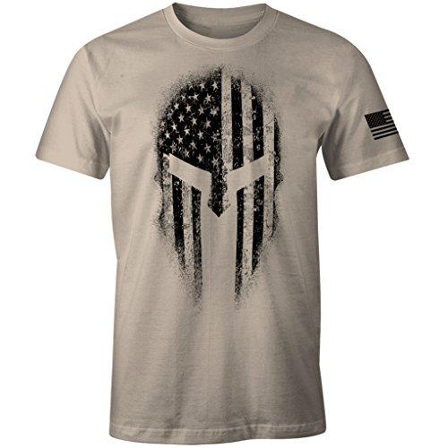 - USA American Spartan Molon Labe Patriotic Men's T Shirt (Sand, L)