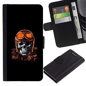 Be-Star la tarjeta de Crédito Slots PU Funda de cuero Monedero caso cubierta de piel Sony Xperia Z3 Compact ( Golden Brown Racing Biker Pilot Skull )