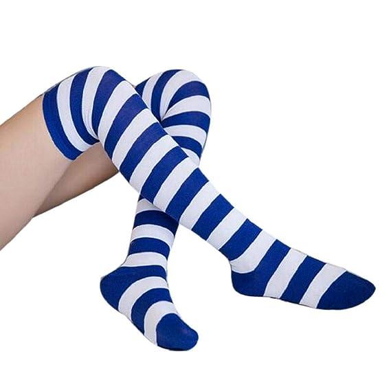 SHOBDW Mujer Moda Regalo de Navidad Elf Rayas Fancy Calcetines largos Rodilla Piernas Tubo delgado Calcetines largos Calcetines de las señoras para el ...