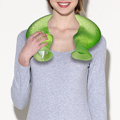 Hot Water Bottle, U Type Transparent PVC Rubber Bottle Neck Protection Warm (Green)