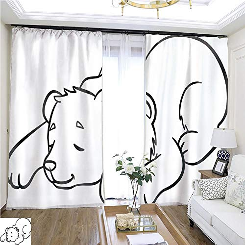 Cartoon Curtain Series Coloring Pages Wild Animals Little Cute Baby Bear Sleeps 1 W72 x L74 613 Loop Curtain Panels Highprecision Curtains for bedrooms Living Rooms Kitchens etc. -