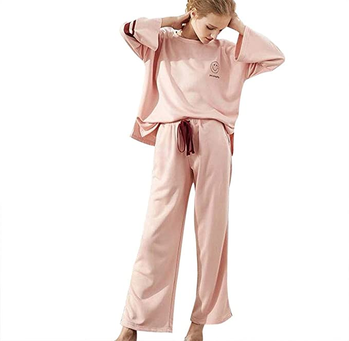 a595ae47fb85 Singleluci Women s Pajamas Set Thermal Loose Fit Long Sleeve Crew Neck Top    Pants Sleepwear Pjs