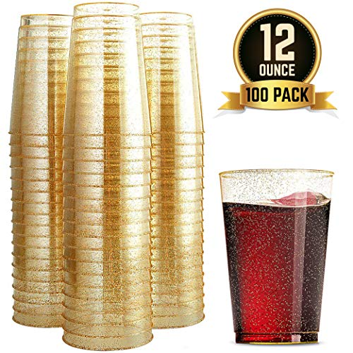 (100 Glitter Plastic Cups 12 Oz Clear Plastic Cups Tumblers Gold Glitter Cups Disposable Wedding Cups Elegant Party Cups Recyclable and BPA-Free)