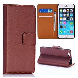 PEACH New Design Flip Folio Stand PC+PU Leather Cover with Card Slots for iPhone 6(Assorted Colors) , Brown