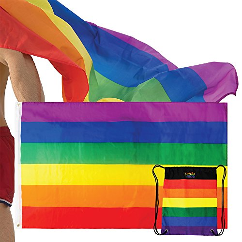 The Pride Side Gay Pride Flag Set By 3x5 Feet Hangable & Wearable As A Cape Rainbow LGBT Colors Homosexual Lesbian Outdoor Banner. Extra-Durable With Brass Grommets + Travel String Bag ()