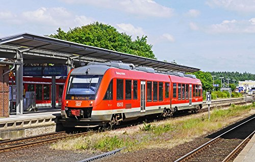 Home Comforts Print on Metal Train Station Husum Railcar Platform Diesel Railcar Print 12 x 18. Worry Free Wall Installation - Shadow Mount is Included.