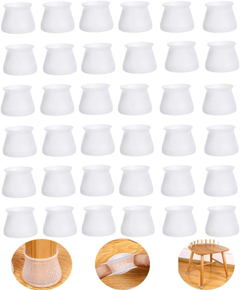 XIAN-36 Pcs of Furniture Silicone Protective Cover, Chair Leg Floor Protection Leg Cap, with Non-Slip Felt Pad Floor Protection Pad, Quietly Moving Furniture Protection and Prevent Floor Scratches