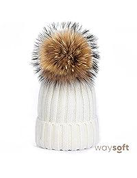 WaySoft Womens Winter Crochet Knit Hat Beanie with Faux Fur Pom Pom Ski Cap