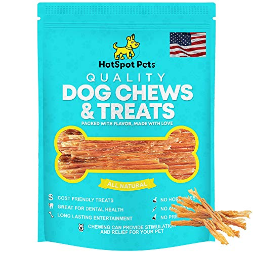 hotspot pets Beef Tendon Chews for Dogs - 8 Inch All Natural, Free-Range, Grass-Fed Premium USDA Gambrol Beef Tendon Stick Treats - Made in USA (10 Pack)