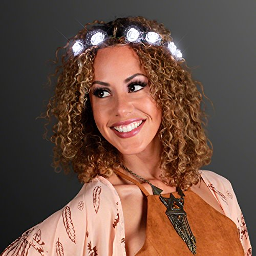 White Light Up Rosebud Flower Crown Headband with LED Lights