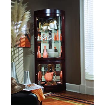 Pulaski Corner Curio, 34 by 23 by 78-Inch, Dark Brown