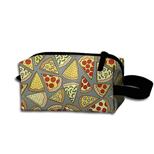 (Clash Durable Zipper Wallet Makeup Handbag With Wrist Band Vegetables Pizza Toiletry)