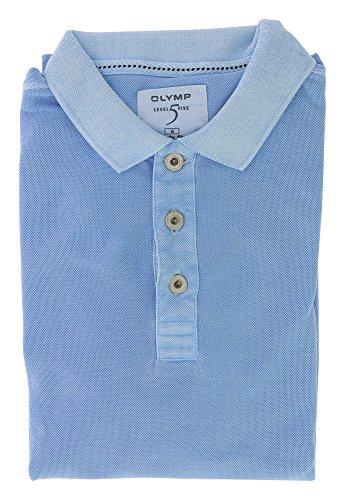 OLYMP Level Five Herren Poloshirt top modische Form | Body Fit mit Polokragen | 100% Baumwolle Gr. S Blau