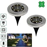 UMyhoo Solar Outdoor Ground Lights - Waterproof Stainless Steel Pathway Landscape lights For Outdoor& Garden, Pathway, Yard, Walk Way 8 LED Lights (32 Pack, Warm White)