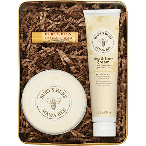 Burt's Bees Mama Bee Gift Set with Tin, 3 Pregnancy Skin Care Products - Leg & Foot Cream, Belly Butter & Original Beeswax Lip Balm (Packaging May Vary) (Essentials Kit Pregnancy)