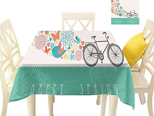 W Machine Sky Polyester Tablecloth Bicycle Happy Spring Themed Bike Concept with Blossomed Bird and Butterflies Fresh Print W70 xL70 Suitable for Buffet Table, Parties, Wedding ()