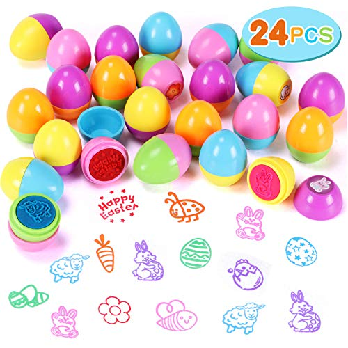 24 PCS Easter Egg Stampers Easter Toys for Easter Eggs Hunt Game, Easter Theme Party, Easter Egg Stuff, Easter Basket Stuffers Fillers, Easter Stamps Gifts, Classroom Prize