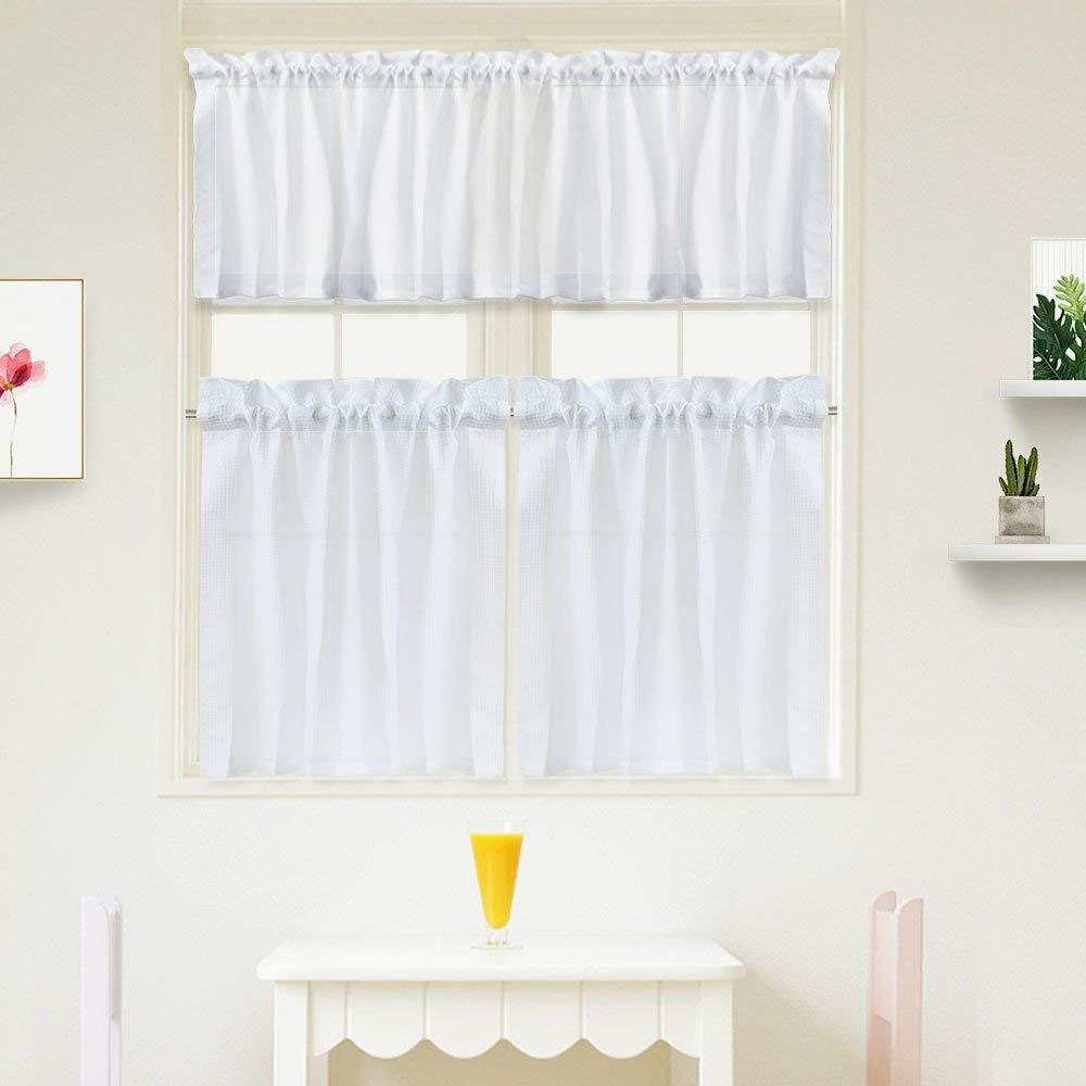 "IdealHouse 3 Pieces Window Curtains and Valance Set for Bathroom Kitchen, Waffle Weave Fabric Rod Pocket Short Small White Bathroom Window Curtains (60"" x 15"" Valance, 2 Set of 30 x 24"" Tiers)"