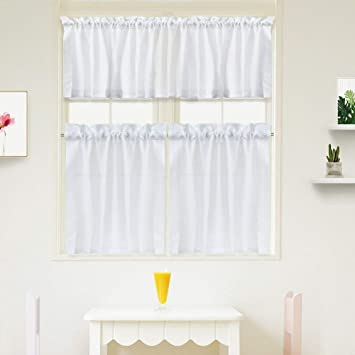 Amazoncom Idealhouse 3 Pieces Window Curtains And Valance Set For