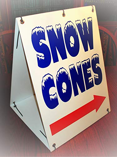 Arrow Sign Kit - NewSSign Snow Cones with Arrow (2-Sided) Sandwich Board Plate Novelty Coroplast Sign Kit - for Home Yard Garage Shop Office Man Cave Business Decor