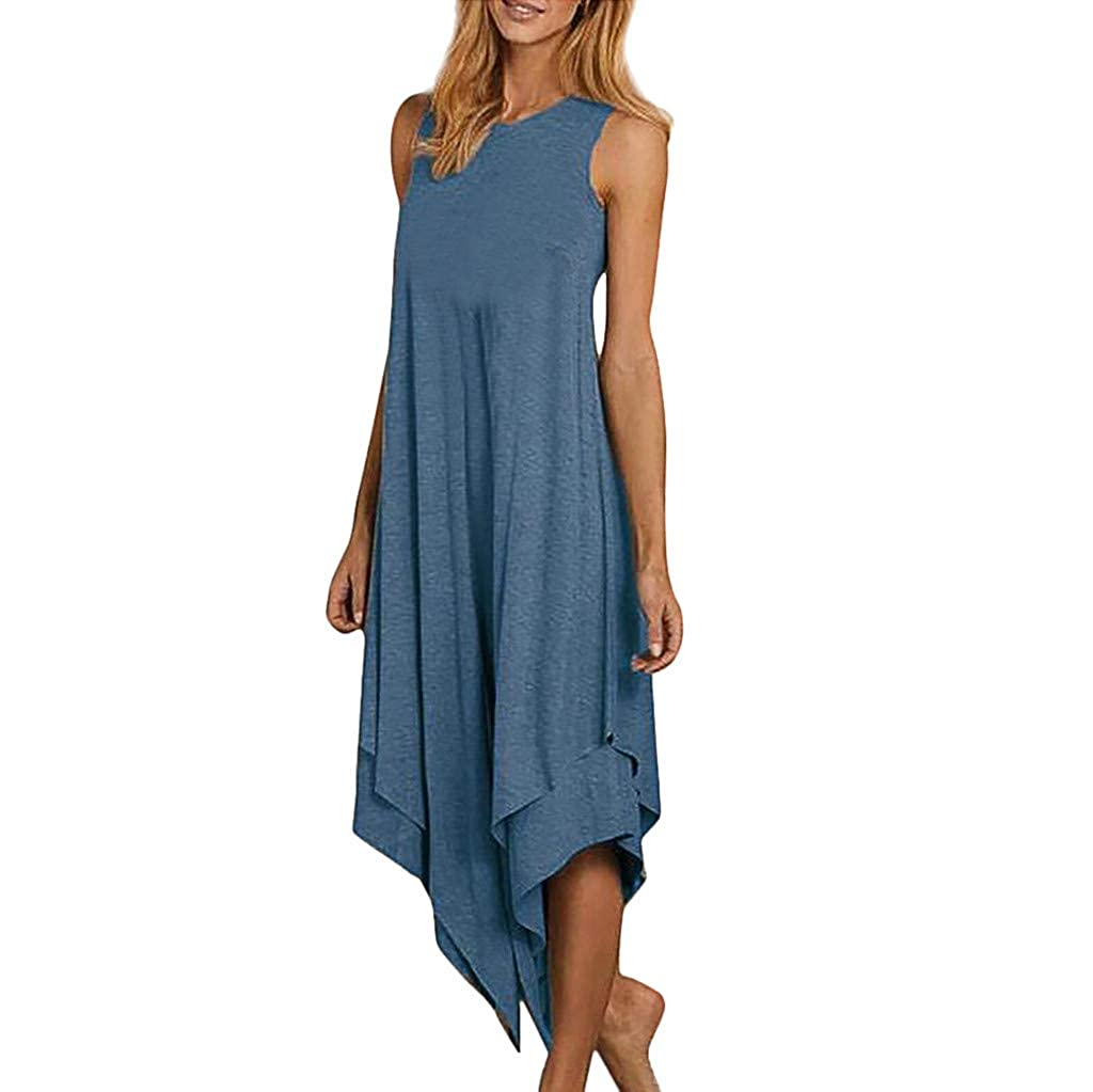 BHYDRY Mode Frauen Brief gedruckt Tank Top Kleid /ärmellose Oansatz l/ässige Kleidung