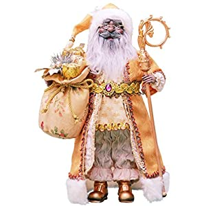 """16"""" Inch Standing Gold African American Black Santa Claus Christmas Figurine Figure Decoration 41605A"""