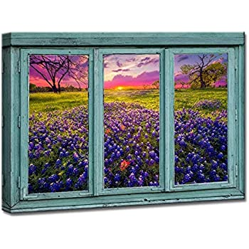 iKNOW FOTO Canvas Prints Retro Teal Window Frame Style Sunrise in The Texas Hill Country Wall Art Spring Landscape Sunrise Pictures Paintings Giclee Artwork for Living Room Bedroom Home Decor 24x36in