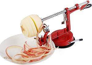 Apple peeler Slicer Corer Spiralizer,Durable Heavy Duty Die Cast Peelers Stainless Steel Blades Red Cast Iron Body