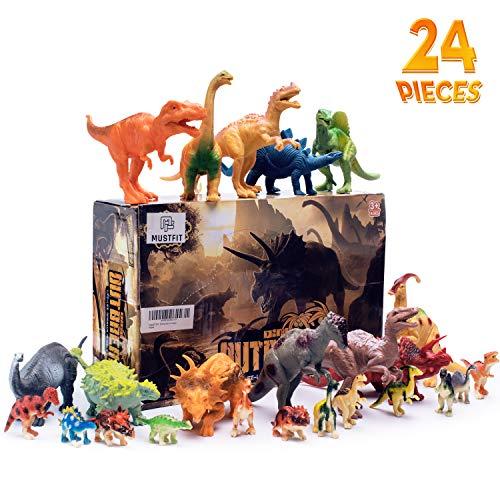 MUSTFIT 24 Pcs Educational Dinosaur Toys - 12 Pack 7 Large & 12 Pack 1 Mini Plastic Realistic Dinosaur Figure for Boys & Girl Toddlers Including T-Rex, Triceratops, Stegosaurus, etc