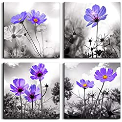 "Wall Art For Living Room Black and White purple flower Canvas Wall Decor for Home Decor artwork painting 12"" x 12"" 4 Pieces Canvas Print For bedroom Decor Modern Salon kitchen Still Life Painting"