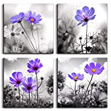 Canvas Wall Art for Bedroom Black and White Landscape Purple Flowers Bathroom Wall Decor for Kitchen Artwork 12'' x 12'' 4 Pieces Framed Canvas Prints Ready to Hang Home Decorations for Living Room