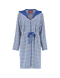 s.Oliver ladies bathrobe Striped zipper drawstring - color selection: Colour: Navy | Size: Small