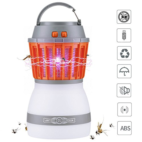[2018 Newest Version] Bug Zapper & Camping Lantern 2 In 1 Night LED Light Bulb Lamp & Mosquito Insect Killer Zapper Repellent Control Waterproof Rechargeable Portable For Indoor & Outdoors Traveling