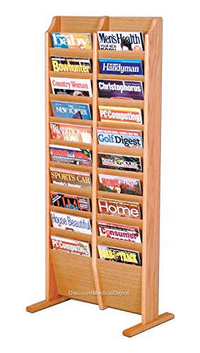 DMD Floor Magazine Rack, Free Standing, 20 Pocket, Light Oak Wood Finish by Discount Medical Depot LLC