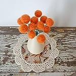 Orange-Felt-flowers-Wool-Pom-pom-Flowers-Faux-Flower-Bouquet-Small-Floral-Arrangement-Fake-Centerpiece-Craspedia-Table-Decoration