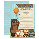 Your Main Event Prints Woodland Birthday Invitation, Boy Birthday Invitation, Bear, Fox, Forest, Woods Birthday Invite, 20 Fill in Invitations and Envelopes