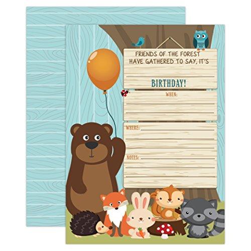 Woodland Birthday Invitation, Boy Birthday Invitation, Bear, Fox, Forest, Woods Birthday Invite, 20 Fill in Invitations and Envelopes ()