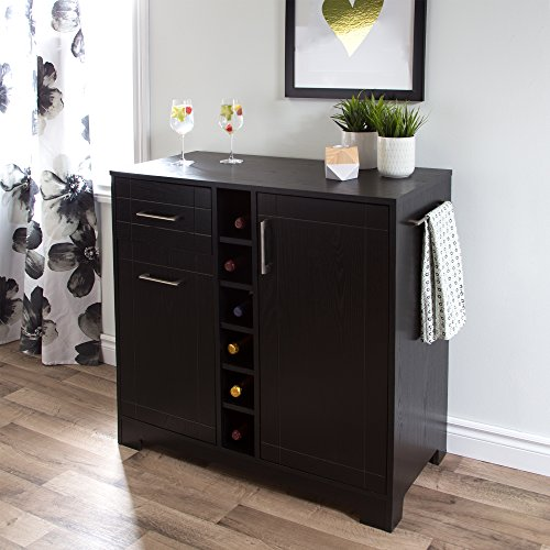 - South Shore 9043770 Bar Cabinet with Bottle and Glass Storage, Black Oak