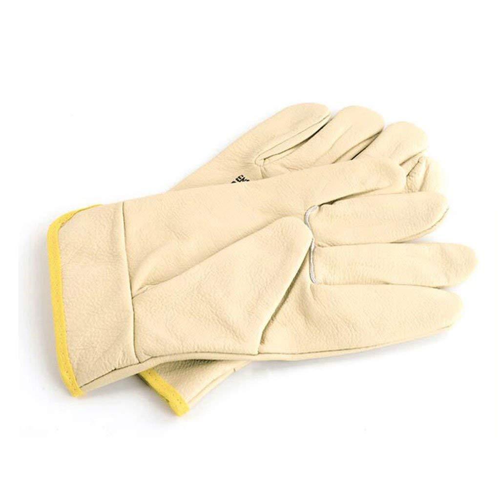 KYCD Sicurezza Lavoro Indossare Guanti protettivi in Pelle Guanti Saldatore  Morbido Isolante ad Alta Temperatura Industriale Lavoro assicurazione Breve Guanti in Pelle